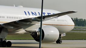 United airplane taxiing on Frankfurt Airport FRA. United jet doing taxi in Frankfurt Airport FRA, Germany stock video footage