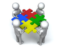 United Jigsaw Men. Four men completes puzzle together. 3D rendered reflective on white background Stock Image