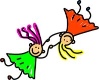 United kids. Two little happy caucasian girls holding hands - toddler art series Stock Photos