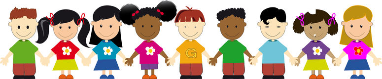 United Kids. Group of kids of different nationalities Stock Photo
