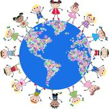 United kids around the globe. Illustration of mixed ethnic kids around our planet Stock Photos