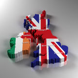 United Kingdom. 3D Map of the United Kingdom and the Republic of Ireland with the most important cities Stock Photos