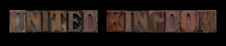 United Kingdom. The words United Kingdom in old letterpress wood type Stock Photography