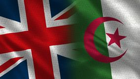 United Kingdom and Algeria. Two Flag Together - Fabric Texture royalty free stock image