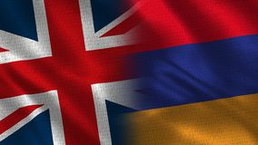 United Kingdom and Armenia. Two Flag Together - Fabric Texture stock photo