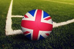 United Kingdom ball on corner kick position, soccer field background. National football theme on green grass stock illustration