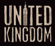 United Kingdom with Big Ben. Scratched inscription United Kingdom with Big Ben Royalty Free Stock Photo