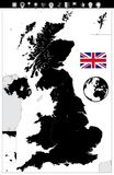 United Kingdom Black Color Map and Flat Map Pointers. Vector illustration Royalty Free Stock Photo