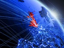 United Kingdom on blue blue digital globe. United Kingdom from space on model of blue digital planet Earth. Concept of blue digital technology, connectivity and royalty free illustration