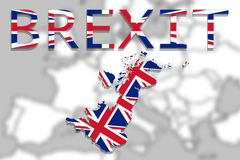 United Kingdom with Brexit on Europe background Royalty Free Stock Images