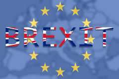United Kingdom with Brexit on Europe Union background Stock Images