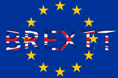United Kingdom with Brexit on Europe Union background Royalty Free Stock Photo