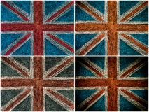 United Kingdom British Union jack flag, hand drawing with chalk on blackboard Royalty Free Stock Photos