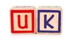 United Kingdom building blocks. Isolated children's building blocks spelling UK United Kingdom Stock Images