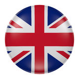 United Kingdom button. 3d rendering of  United Kingdom flag on a button Stock Photography