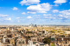 United Kingdom capital from a bird`s eye. Bird`s eye panoramic view of the United Kingdom cityscape from the unusual and atypical camera angle Stock Photography
