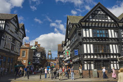 United Kingdom - Chester. United Kingdom England Chester - Foregate Street and the Eastgate Clock in background Stock Photos