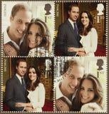 Kate Middleton and Prince William Royal Wedding Stamps. UNITED KINGDOM - CIRCA 2011: Set of Four British Used Postage Stamps celebrating the Royal Wedding of Stock Photos