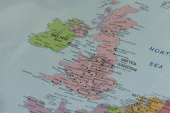United kIngdom closeup map. Royalty Free Stock Images