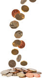 United Kingdom coins. A background of UK coins falling down Stock Image
