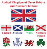 United Kingdom. Collection of flags and national emblems of England Scotland Wales Northern Ireland isolated on white background Stock Photo