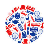 United Kingdom country theme symbols and icons in circle Royalty Free Stock Photos