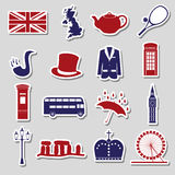 United Kingdom country theme symbols stickers eps10 Royalty Free Stock Image