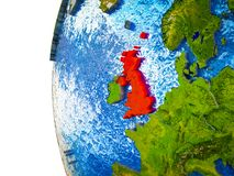 United Kingdom on 3D Earth. United Kingdom highlighted on 3D Earth with visible countries and watery oceans. 3D illustration stock illustration