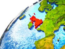 United Kingdom on 3D Earth. Model with visible country borders. 3D illustration royalty free illustration
