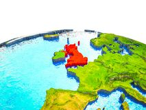 United Kingdom on 3D Earth. With visible countries and blue oceans with waves. 3D illustration vector illustration