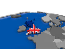 United Kingdom on 3D globe Royalty Free Stock Photos