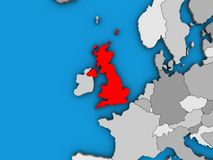 United Kingdom on 3D map. United Kingdom on blue political 3D globe. 3D illustration royalty free illustration