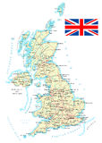 United Kingdom - detailed map - illustration. Royalty Free Stock Images