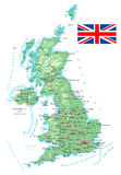 United Kingdom - detailed topographic map - illustration. Royalty Free Stock Images