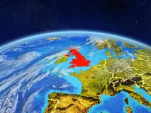 United Kingdom on Earth from space. United Kingdom on planet Earth with country borders and highly detailed planet surface and clouds. 3D illustration. Elements vector illustration