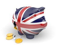 United Kingdom economy and finance concept for GDP and national debt crisis. Rendered in 3D over a white background Stock Image