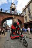 United Kingdom England Chester - Foregate Street and the Eastgate Clock in background Royalty Free Stock Photo