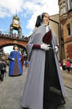 United Kingdom England Chester - Foregate Street and the Eastgate Clock in background. And festival stock image