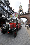 United Kingdom England Chester - Foregate Street and the Eastgate Clock in background. And wedding car Royalty Free Stock Photo