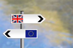 United Kingdom, EU road sign. Different directions. Royalty Free Stock Photo