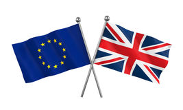 United Kingdom and European Union Flags Stock Photo