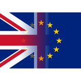 United kingdom and european union flags merging. Vector Stock Photography