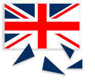 United Kingdom falling apart - flag with Scotland independent. R Royalty Free Stock Photo