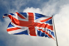 United Kingdom flag. Union Jack flag on a flag pole Stock Images