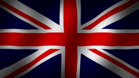 United Kingdom flag. Animated, waving flag composed by a red cross and diagonal lines in red and white over a navy blue back, fabric texture background stock video footage