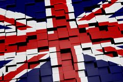 United Kingdom flag background formed from digital mosaic tiles, 3D rendering. Modern 3D rendered concept of numerous square tiles sliding together to form the Royalty Free Stock Image