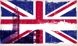 United Kingdom flag with big ben and Grunge Royalty Free Stock Images
