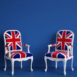 United Kingdom flag chairs on blue background with copy space. Digital illustration.3d rendering Royalty Free Stock Image