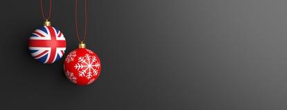 UK flag on a christmas ball, black background. 3d illustration Stock Photography