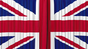United Kingdom flag curtain, Opening and closing 3d animation, HD, mask. Highly detailed 3d animation of British flag curtain. Opening and closing with alpha stock video footage